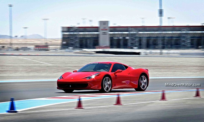 Ferrari 458 Italia on the track at Exotics Racing