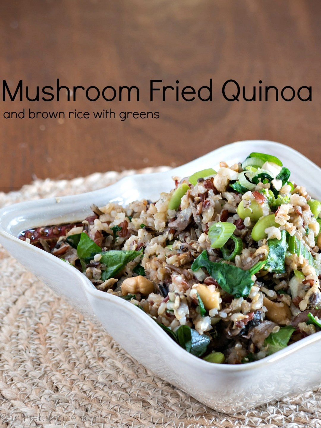 Mushroom Fried Quinoa and Brown Rice with Greens rice quinoa mushrooms meatlessmondays Eat your greens cashews broccoli