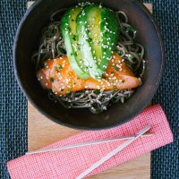Soba Noodles with Smoked Salmon, Avocado and Mirin Dressing