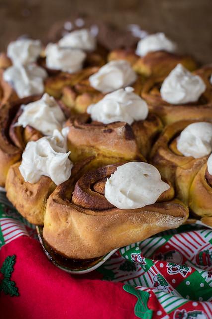 Sticky Pumpkin Cinnamon Rolls & Eggnog Frosting