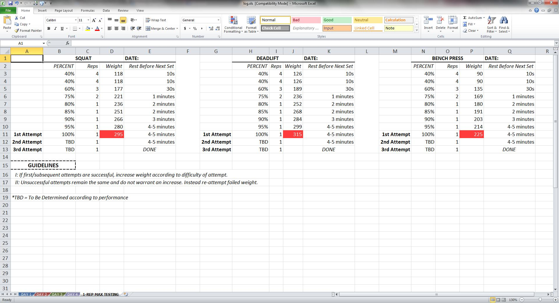 Niel K. Patel: DOWNLOAD: Training Log Spreadsheet