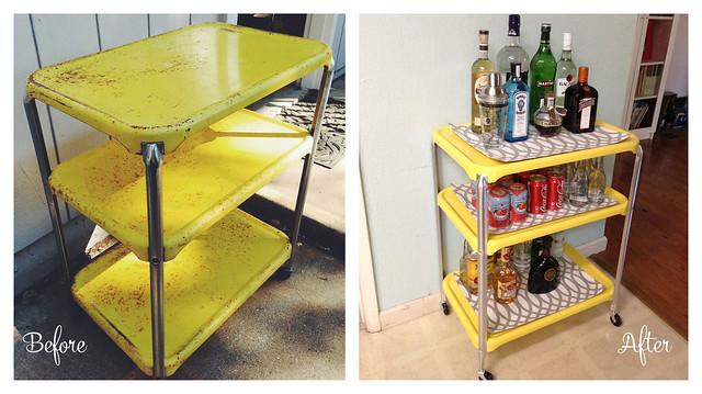DIY Bar Cart Before and After #thelovelygeek