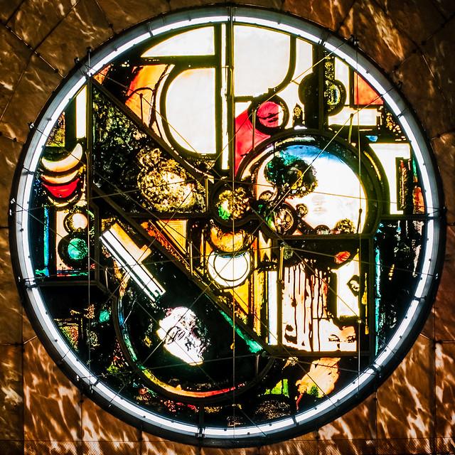 Notre Dame De La Treille, Lille, France.  Front facade stained glass fixture.