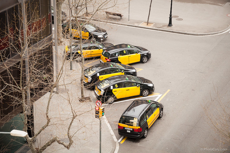 Taxis are black and yellow in Barcelona, Spain
