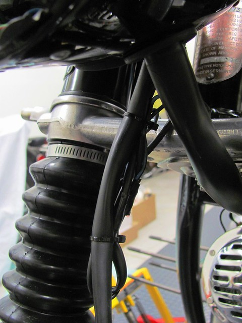 Front Turn Signal Wires (Not Connected) Safely Tie Wrapped to Windjammer Cable