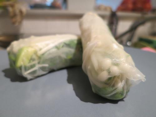 Raw enoki mushroom and avocado salad rolls