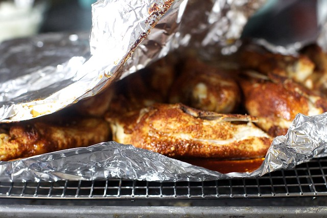 dry-rub chicken, not ready yet