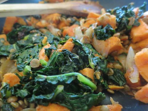 Sweet potato and kale enchiladas