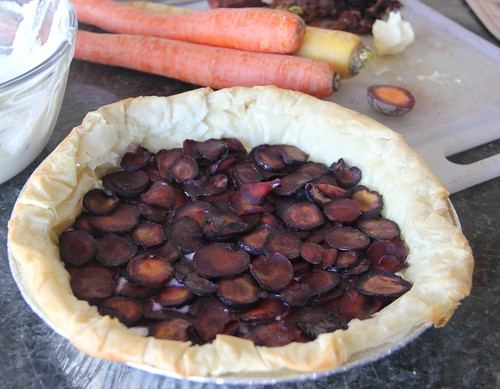 Purple Carrots and Ricotta TArt