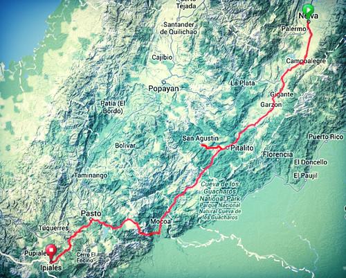 Map - Neiva to Ipiales b