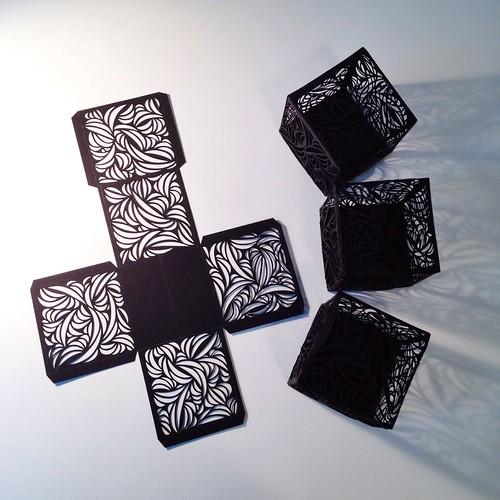 Cut paper cubes