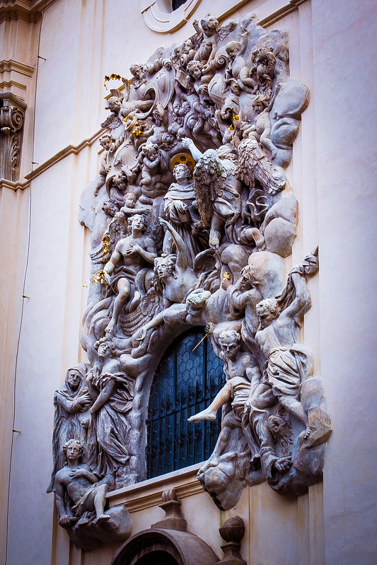 Doorway sculptures of St James Church, Prague