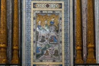 Hier een schilderij uit de Tadzjiekse geschiedenis, in verschillende semi-waardevolle steensoorten uitgevoerd.