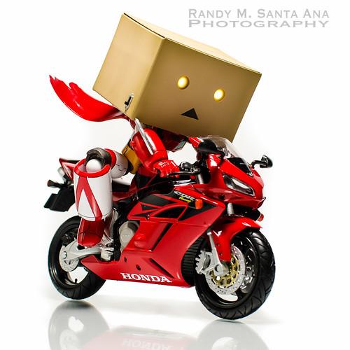 Danbo Getter Rides Red Honda.