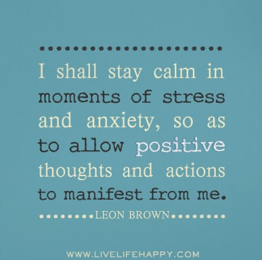 I shall stay calm in moments of stress and anxiety, so as to allow positive thoughts and actions to manifest from me. - Leon Brown