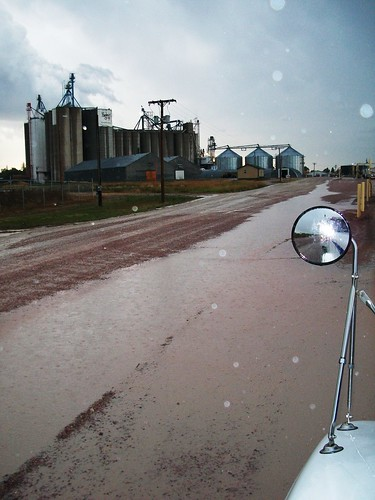 Puddles at the grain elevator