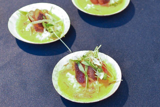 Redd seared pork belly with asian tomato broth
