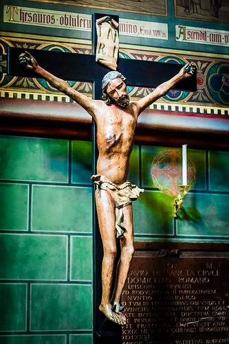 St Vitus Cathedral. Prague Castle. Painted wooden crucifix