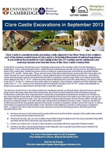 Clare Castle Excavations in September 2013