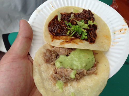 Rocio's Mole de los Dioses: (top) Chicken Mole Taco, (bottom) Carnitas Taco