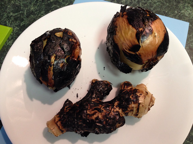 Charred onions and ginger