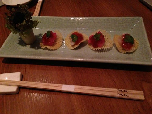 Tuna and scallop sushi onfried miso chip