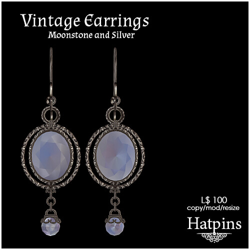 Hatpins - Moonstone and Silver Earrings