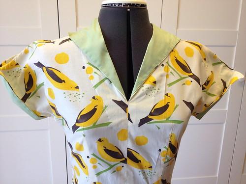 yellow bird dress bodice