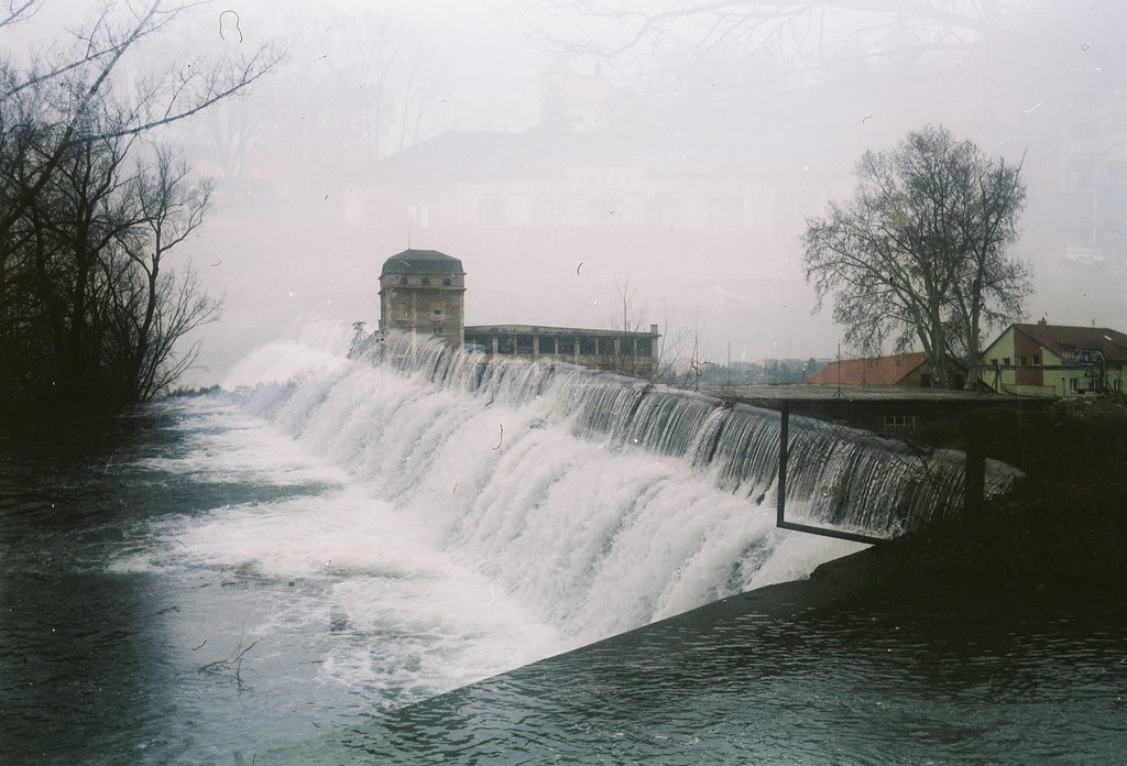 Agfa Billy Record 7.7 - Weir on the Svitava River and Abandoned Factory (double exposure)