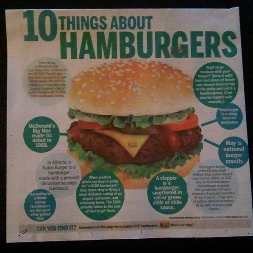 May is national burger month. Right on! (found in the Whig Standard, by @sbats1 + Tara Curran)