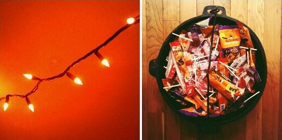 Getting ready for Halloween with our meager decorations and cauldron of organic treats #halloween #organic #candy #halloweencandy #halloween2013 #decoration