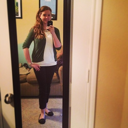 Week 2 begins with a green-based #ootd, featuring jade accents :) Cardigan and loafers: Target; slacks: ON; top: Ann Taylor Loft outlet