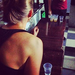 Learned the rules of Beer Pong, got quite lucky at it #travel #beer #brazil