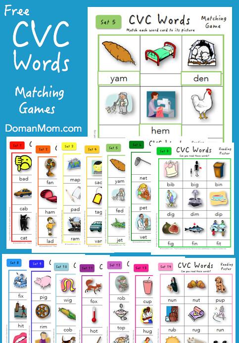 Toddler Phonics Cvc Word Matching Game 126 Simple Phonics Words