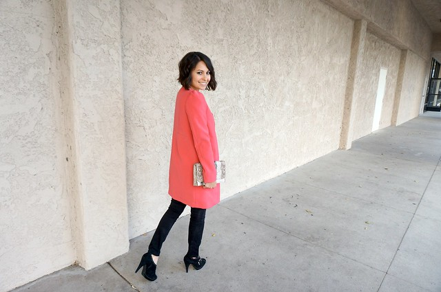 pink collarless coat outfit 4