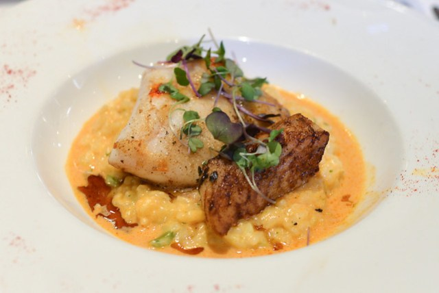 brown butter roasted new zealand hoki corn and asparagus risotto, shellfish and smoked paprika bouillon