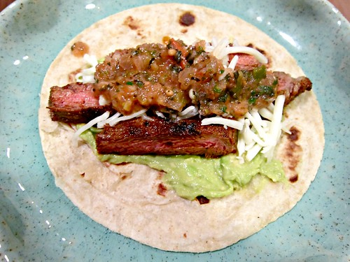 Grilled Steak Taco with Tomato & Chard Salsa
