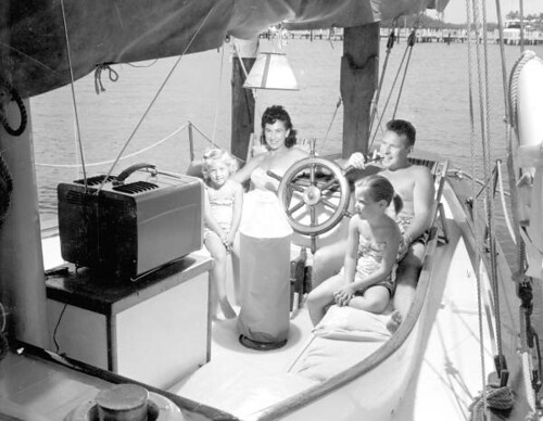 Family watching TV on their boat - Fort Lauderdale