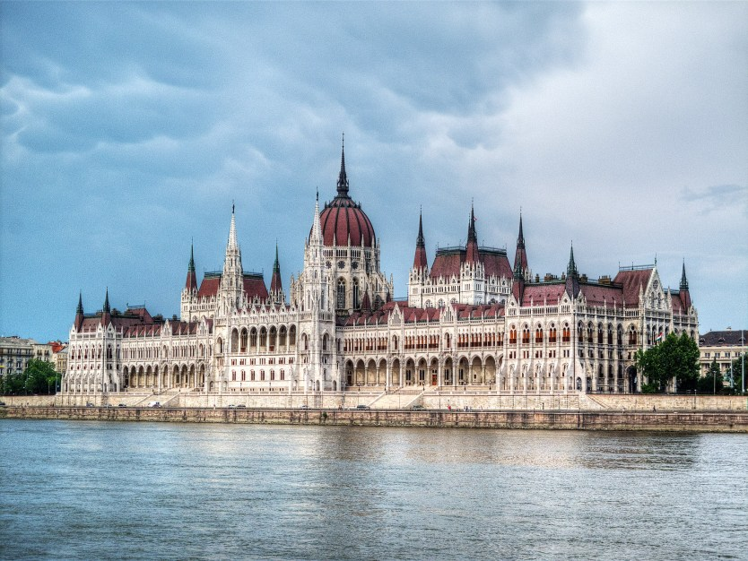 Hungarian Parliament Building from the Danube River.