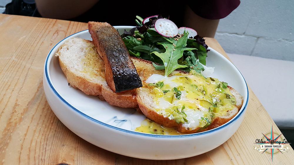 Salmon Steak Sandwich with Eggs, Woo! Cafe @eatplaywoo at Australian Place, Jalan Dewan, Kota Kinabalu, Chloe Tiffany Lee