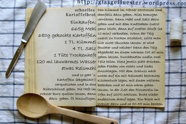 Einkaufszettel Schnelles Kartoffelbrot by Glasgefluester