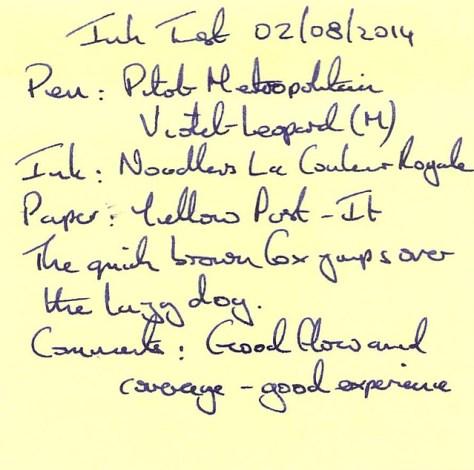 Noodler's La Couleur Royale - Ink Review - Post It