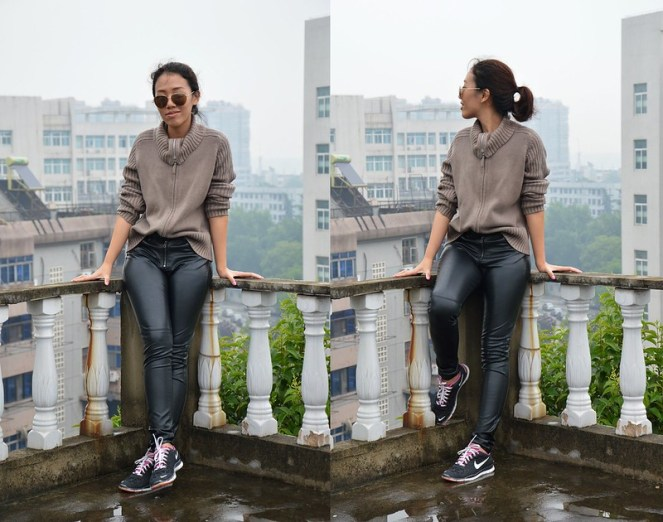 oversized roll neck sweater, mango aviators, leather pants, nike free