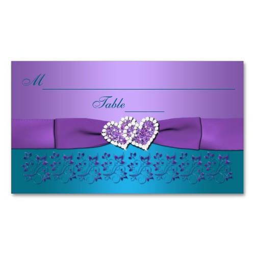 Purple, Teal Floral, Hearts Wedding Placecards Business Card Template