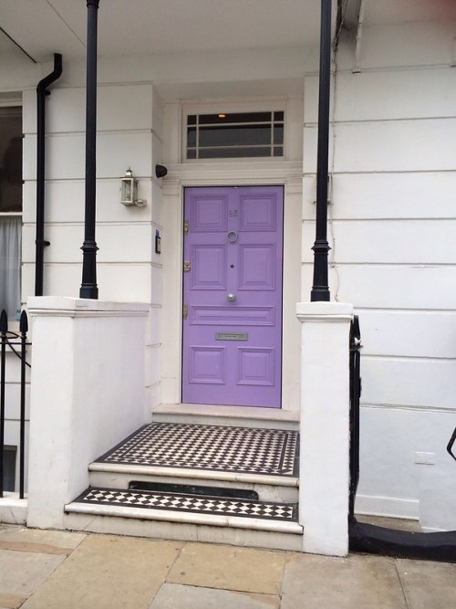 Statement Doors Lavender Front Exterior Door Black and White Tile Porch