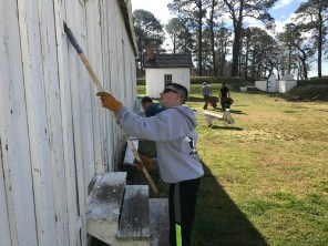Photo of volunteers painting and landscaping at Point Lookout State Park