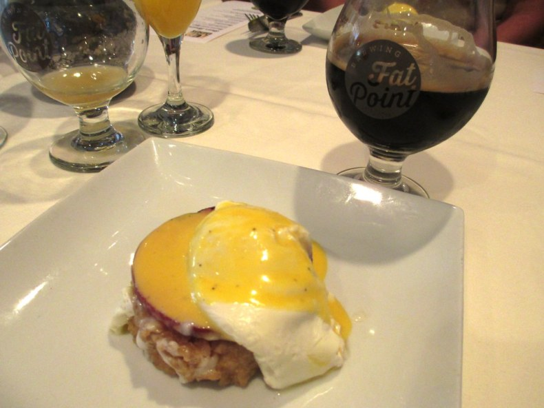 Poached Egg, Grilled Brown Sugar Ham, Oatmeal Cake, Hollandaise served with a Fat Point Rise & Grind Oatmeal Stout - Fat Point Brewing Beer Brunch at Opus Restaurant, Punta Gorda, Fla., June 29, 2014