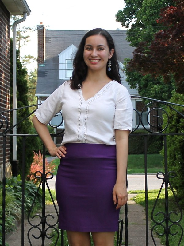 Purple Pencil Skirt and Embroidered Top