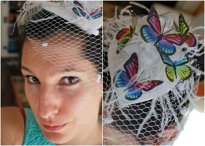 DIY Regenbogen Monarch Schmetterlinge Fascinator