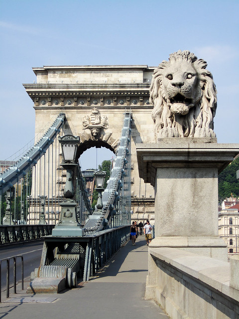 Lion head, Chain Bridge, Budapest.